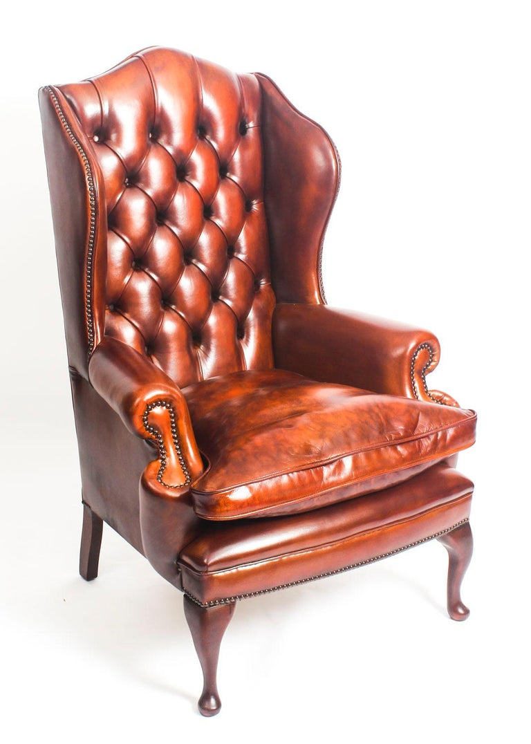 Bespoke English Leather Queen Anne Sofa And Pair Of Armchairs