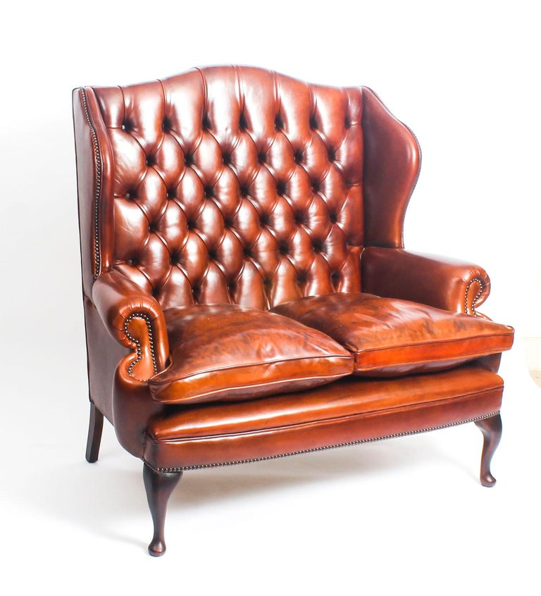 This Is An Absolutely Stunning Bespoke New Leather Suite Comprising A Pair Of Queen Anne Style