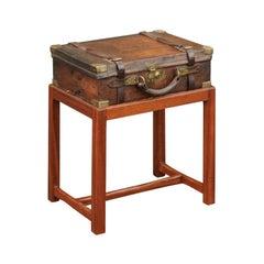 English Leather Shell Box on Rectangular Mahogany Custom Stand, circa 1880