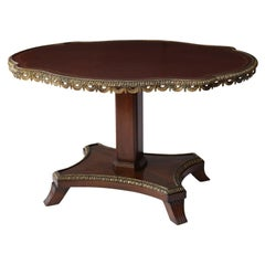 English Leather-Top Center Table in Cuban Mahogany