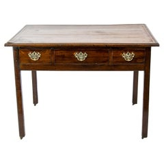 English Leather Top Center Table on Castors