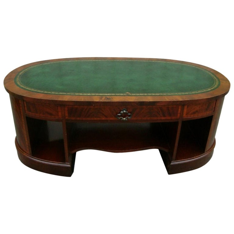 English Leather Top Coffee Table For Sale