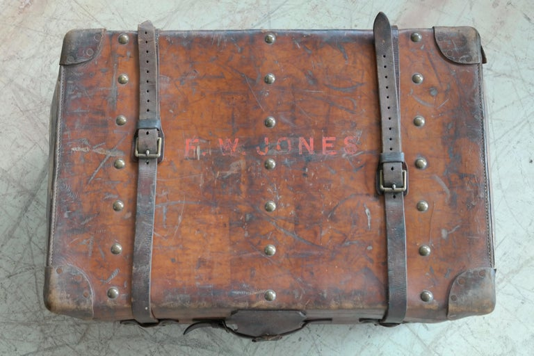 English Leather Travel or Steamer Trunk by John Pound & Co. England, circa 1883 5
