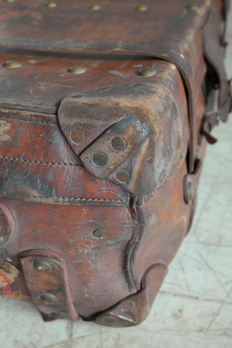 English Leather Travel or Steamer Trunk by John Pound & Co. England, circa 1883 7