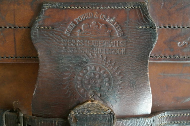 English Leather Travel or Steamer Trunk by John Pound & Co. England, circa 1883 8