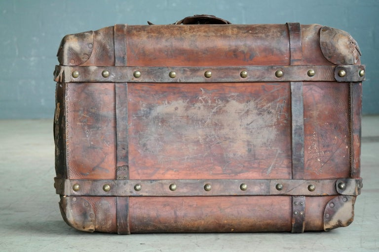 English Leather Travel or Steamer Trunk by John Pound & Co. England, circa 1883 9