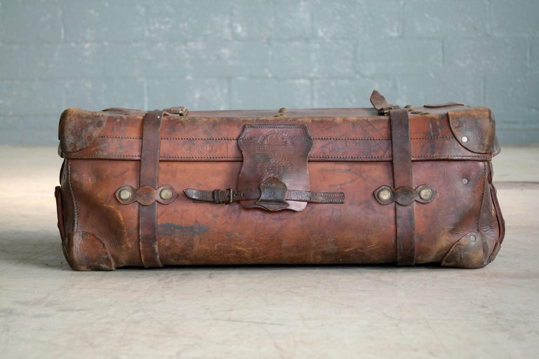 English Leather Travel or Steamer Trunk by John Pound & Co. England, circa 1883 10