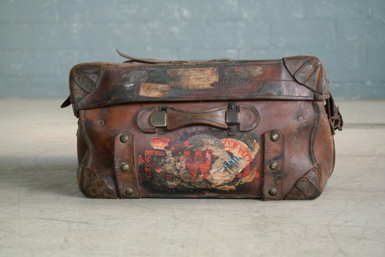 English Leather Travel or Steamer Trunk by John Pound & Co. England, circa 1883 In Good Condition In Bridgeport, CT
