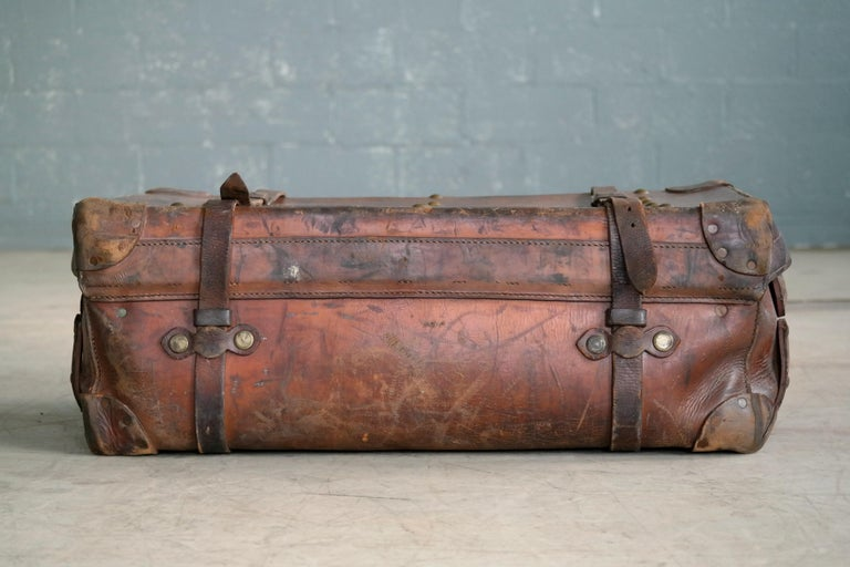 Late 19th Century English Leather Travel or Steamer Trunk by John Pound & Co. England, circa 1883