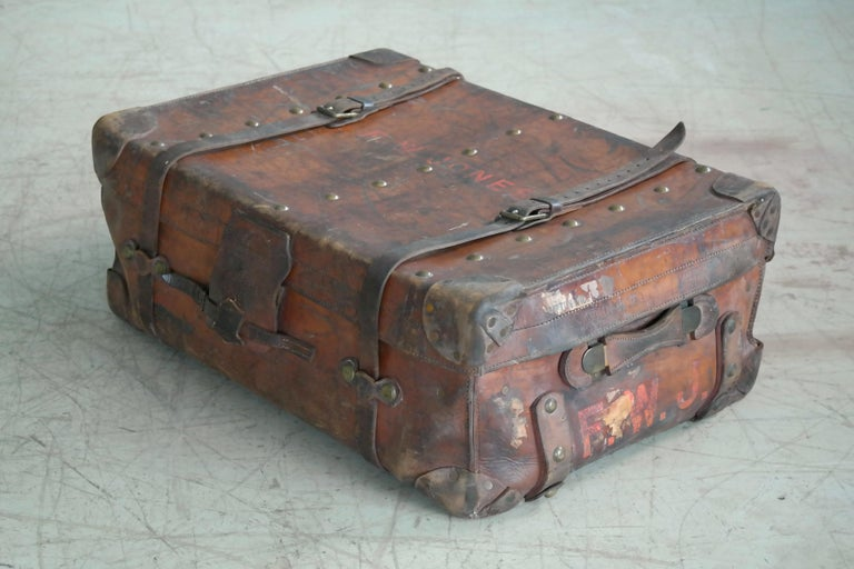 English Leather Travel or Steamer Trunk by John Pound & Co. England, circa 1883 1