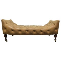 English Leather Tufted Bench