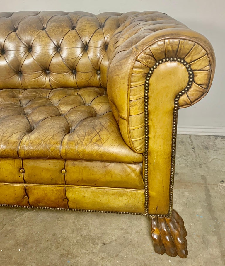 Hand-Carved English Leather Tufted Chesterfield Sofa, circa 1900s For Sale