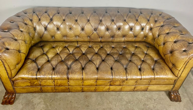English Leather Tufted Chesterfield Sofa, circa 1900s For Sale 1