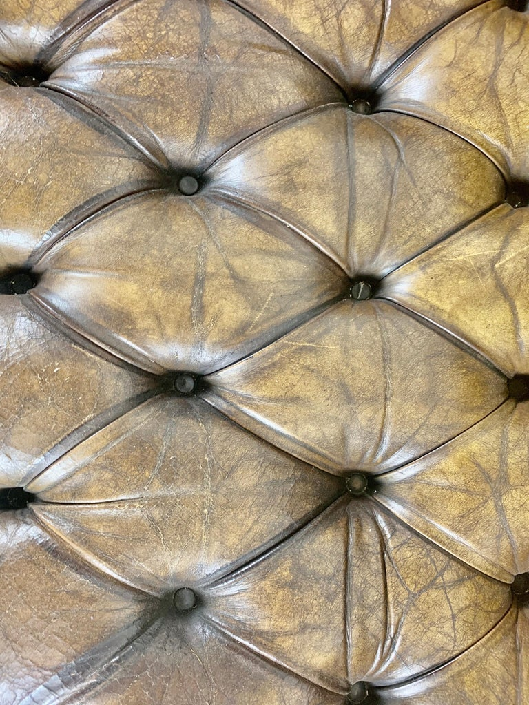 English Leather Tufted Chesterfield Sofa, circa 1900s For Sale 3