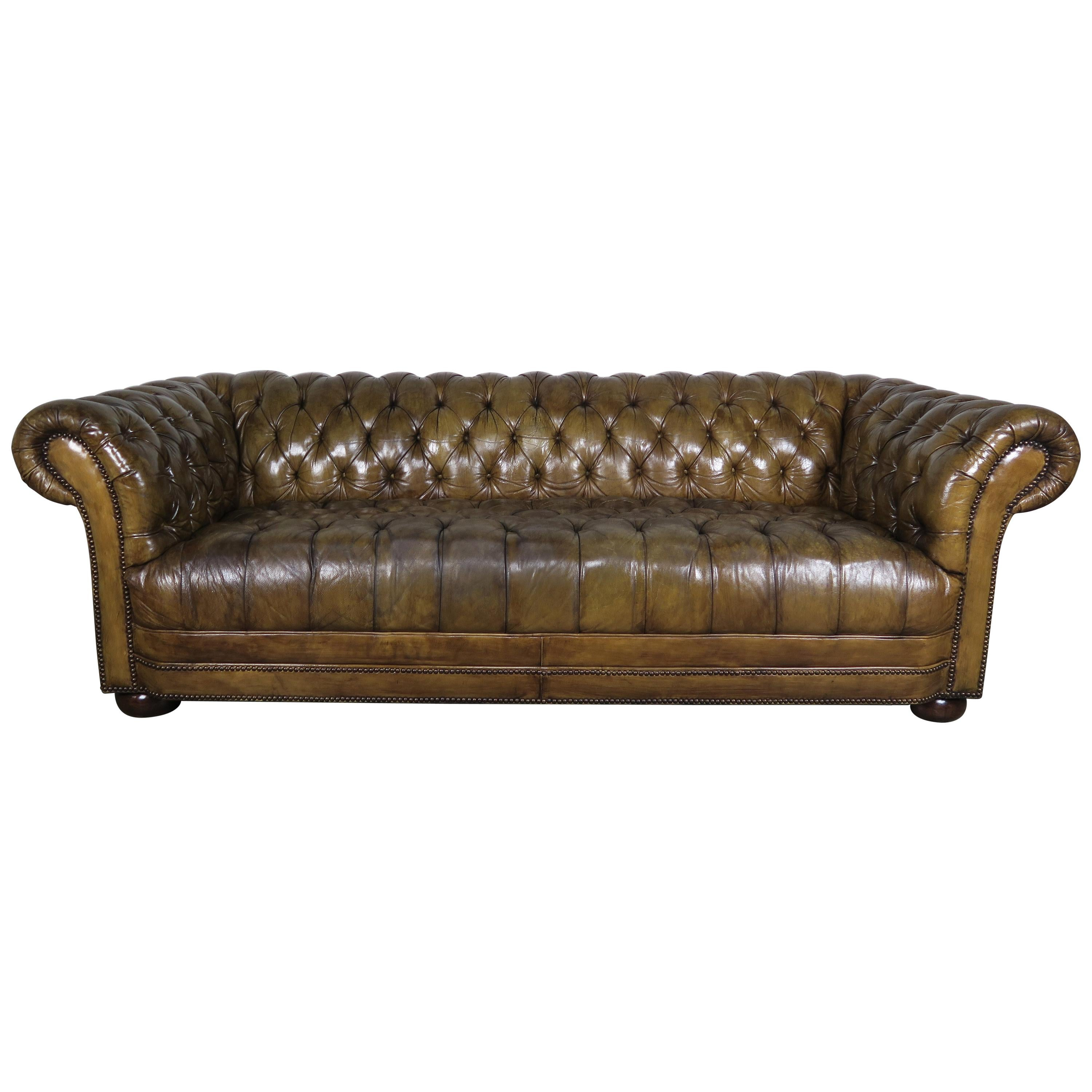 Brown Leather On Tufted Chesterfield Sofa Clic