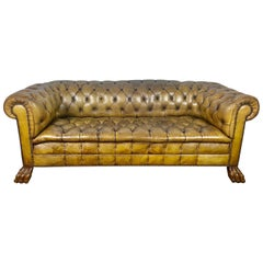 English Leather Tufted Chesterfield Sofa, circa 1900s