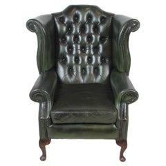 English Leather Wingback Chair, circa 1930