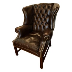 English Leather Wingback Chair with Nailhead Trim