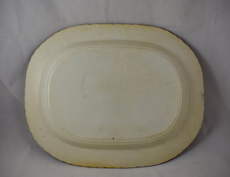 English Leeds Cobalt Blue Feather or Shell Edge Pearlware Oval Platter For Sale 1