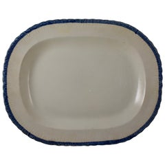 English Leeds Cobalt Blue Feather or Shell Edge Pearlware Oval Platter