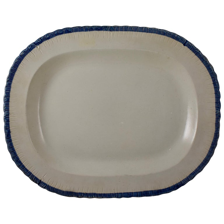 English Leeds Cobalt Blue Feather or Shell Edge Pearlware Oval Platter For Sale