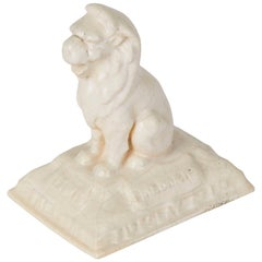 English Leeds Fireclay Company Advertising Lion Paperweight, circa 1904