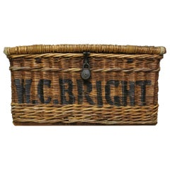 English Linen Basket circa 1920 Vintage Wicker Basket W.C. Bright
