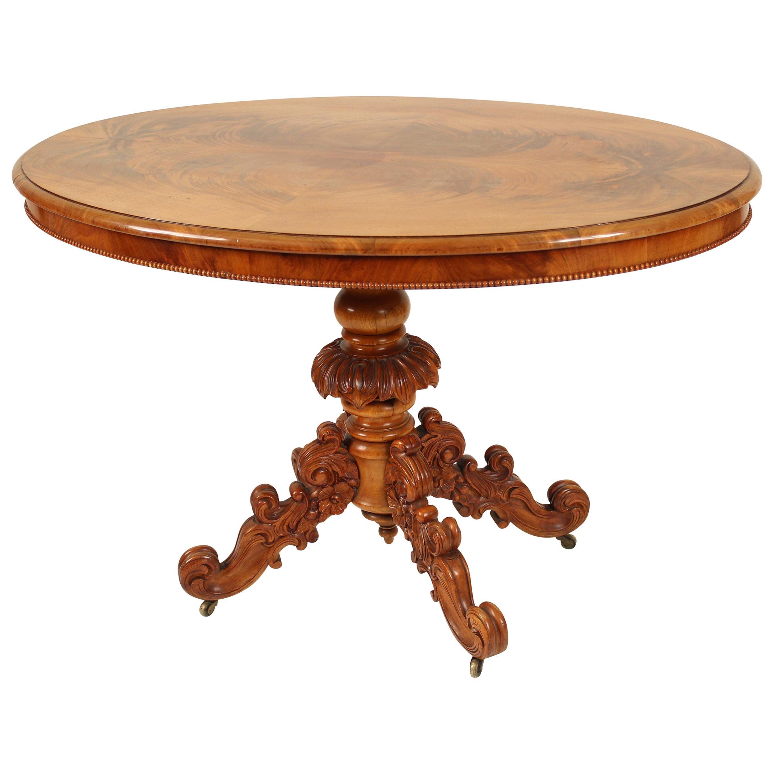 English Loo Table with Flame Mahogany Top