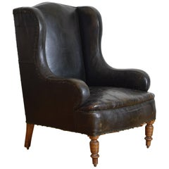 English Louis Philippe Period Leather Upholstered Club Chair, Mid-19th Century