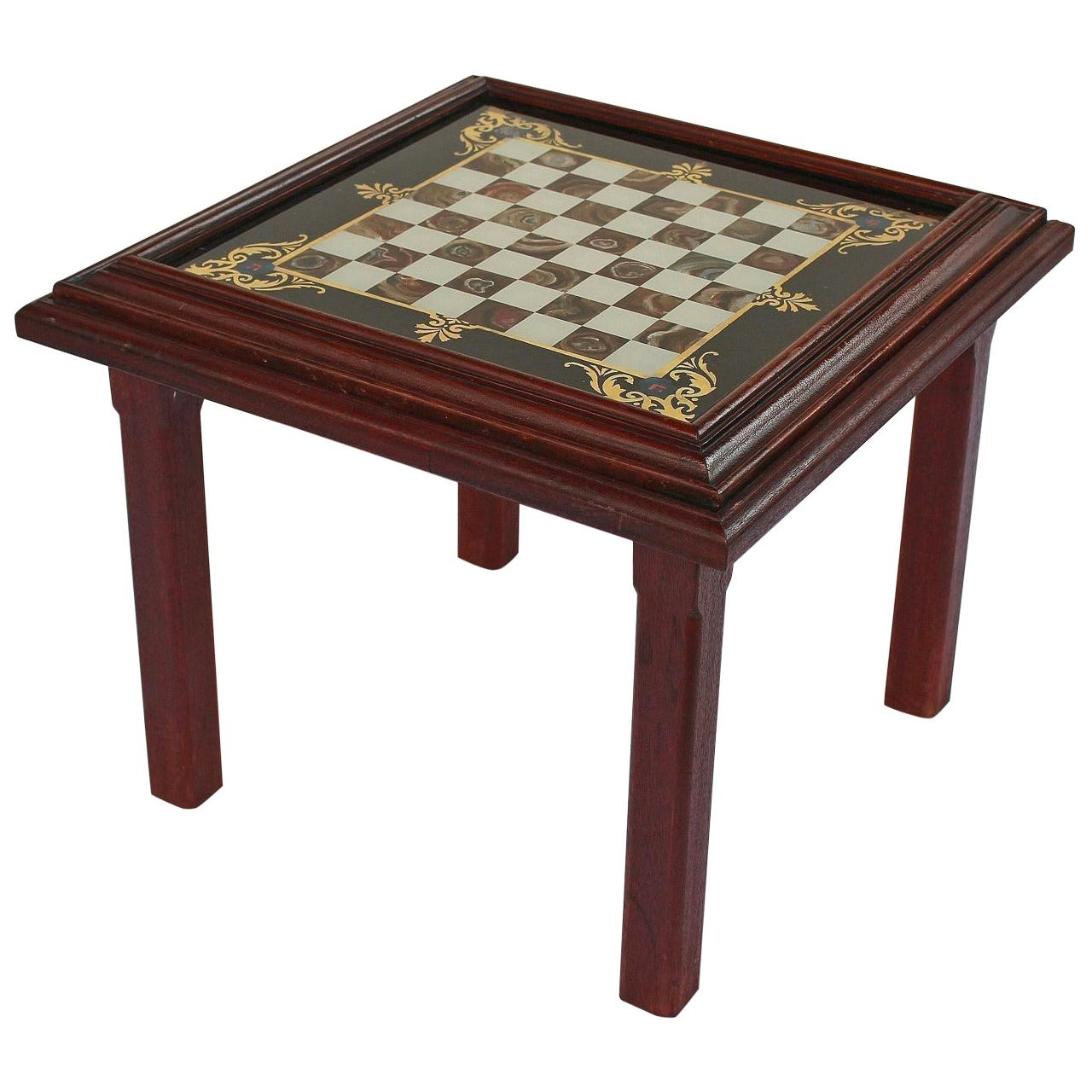 English Low Cocktail or Coffee Table with Chess Board Top
