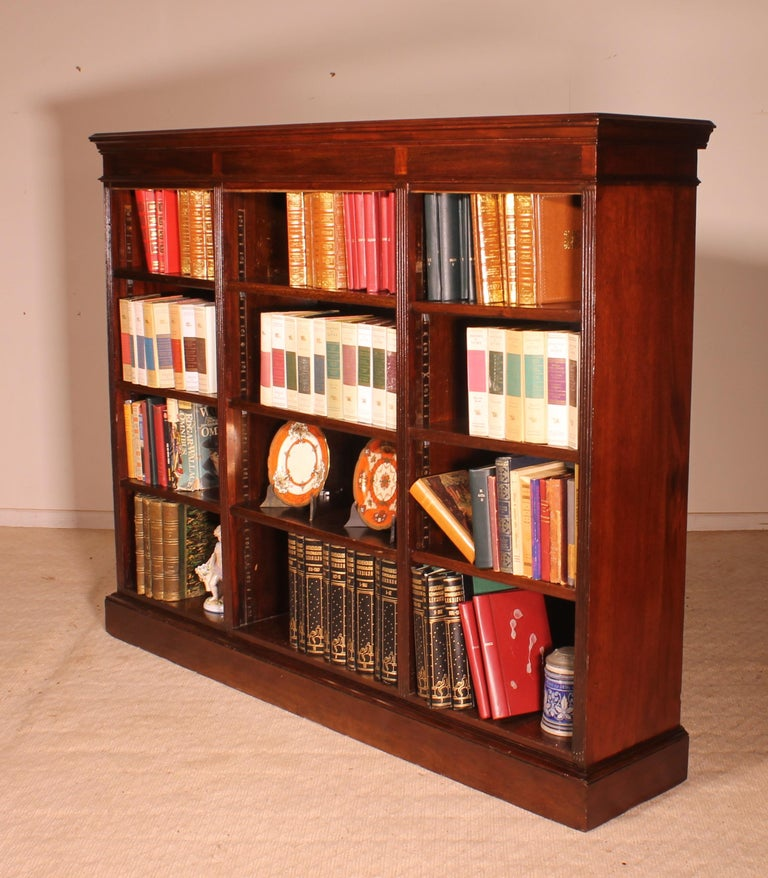 English Low Open Bookcase in Mahogany For Sale 3