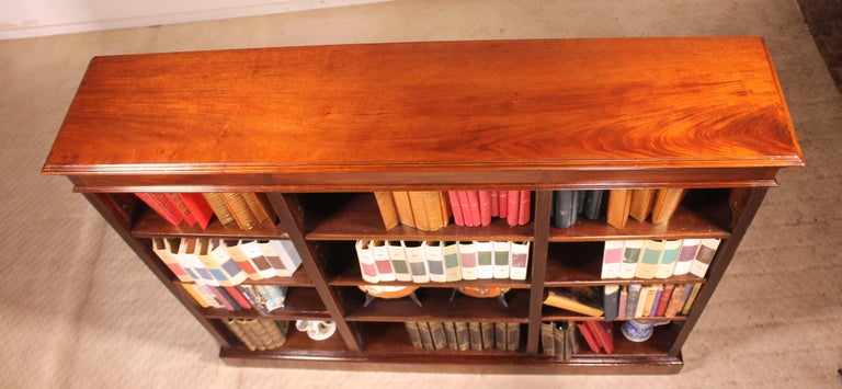 English Low Open Bookcase in Mahogany For Sale 4