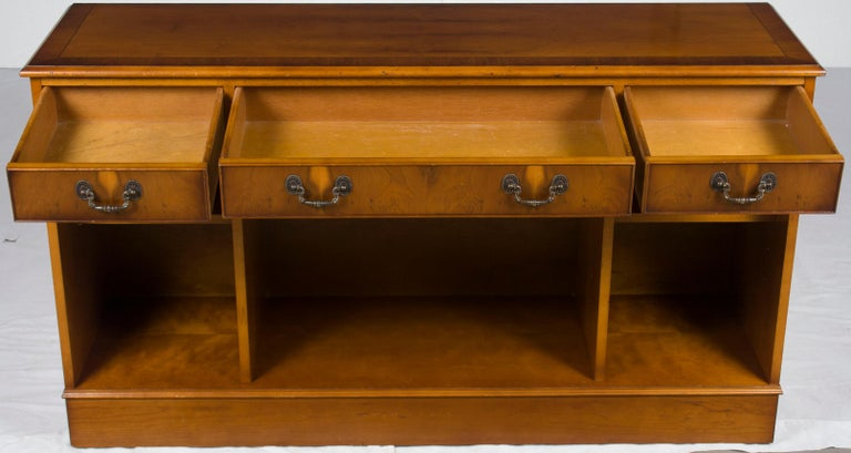 Georgian English Low Short Open Bookcase Bookshelf With Drawers For