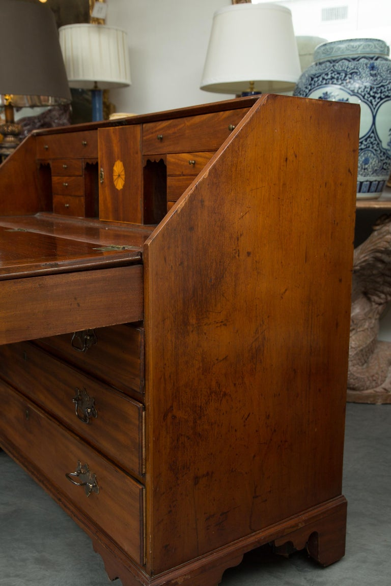 Woodwork English Mahogany 18th Century Slant Top Desk For Sale