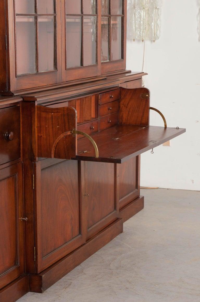 English Mahogany 19th Century Georgian Breakfront Bookcase Desk For Sale 6