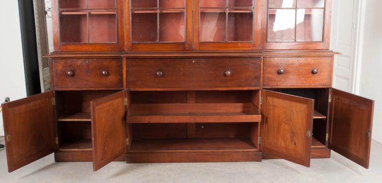English Mahogany 19th Century Georgian Breakfront Bookcase Desk For Sale 7