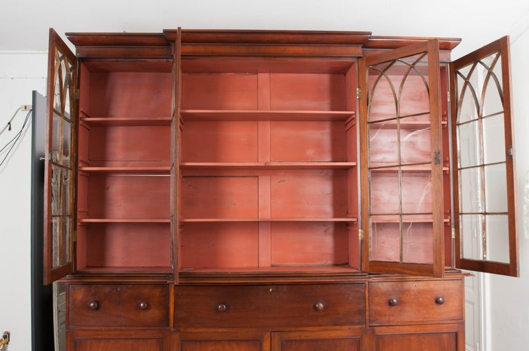 English Mahogany 19th Century Georgian Breakfront Bookcase Desk For Sale 8