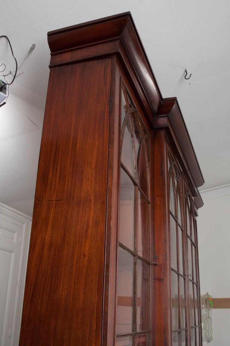Glass English Mahogany 19th Century Georgian Breakfront Bookcase Desk For Sale