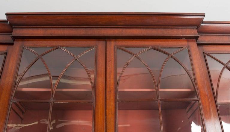 English Mahogany 19th Century Georgian Breakfront Bookcase Desk For Sale 1
