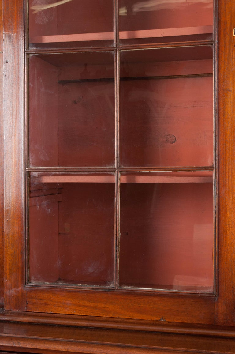 English Mahogany 19th Century Georgian Breakfront Bookcase Desk For Sale 2