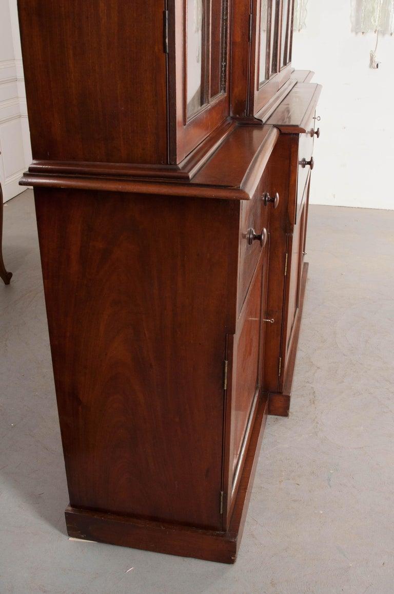 English Mahogany 19th Century Georgian Breakfront Bookcase Desk For Sale 4