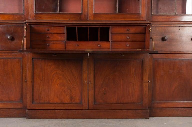 English Mahogany 19th Century Georgian Breakfront Bookcase Desk For Sale 5