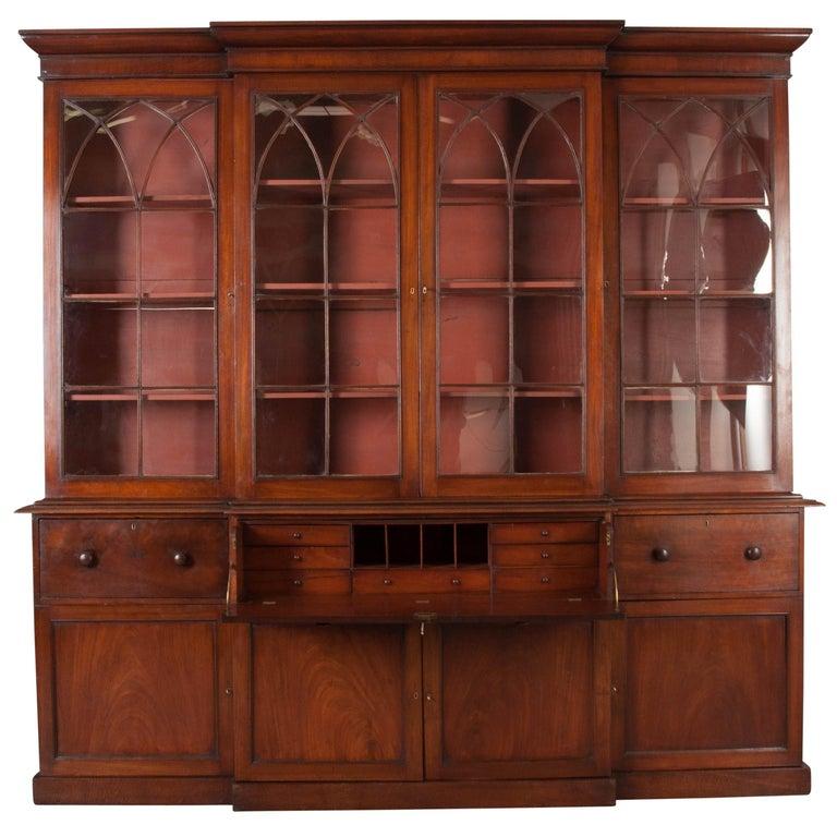 English Mahogany 19th Century Georgian Breakfront Bookcase Desk For Sale