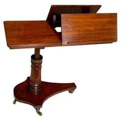 English Mahogany Adjustable Reading or Musical Table Stand