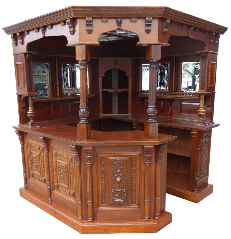 Home Bars For Sale: English Mahogany And Carved Walnut Canted Corner Bar For