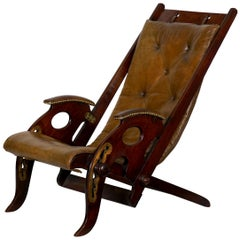 English Mahogany and Leather Reclining Metamorphic Campaign Chair, 19th Century