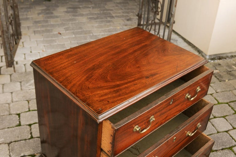 English Mahogany Bachelor's Chest with Three Graduated Drawers, Mid-19th Century 9