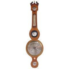 English Mahogany Banjo Barometer. Circa 1830