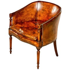 English Mahogany Barrel Back Chair in Original Leather