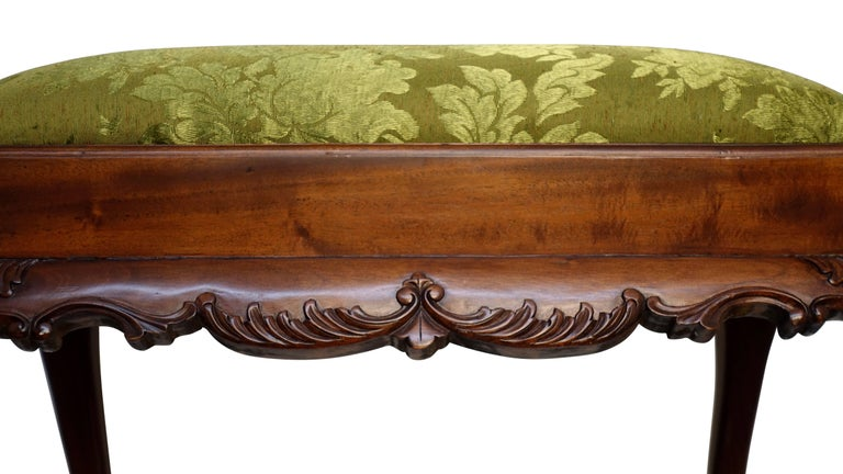 English Mahogany Bench or Stool with Claw and Ball Feet For Sale 1